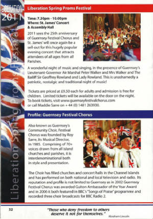 Choir Feature in Liberation 2011 Brochure